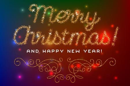 Merry Christmas lettering gold glitter font. Vector illustration.