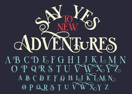 Carattere di lettere serif vintage. Carattere tipografico retrò con elementi decorativi