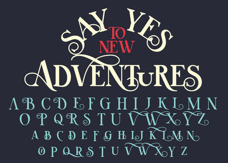Vintage serif lettering font. Retro typeface with decorative elements