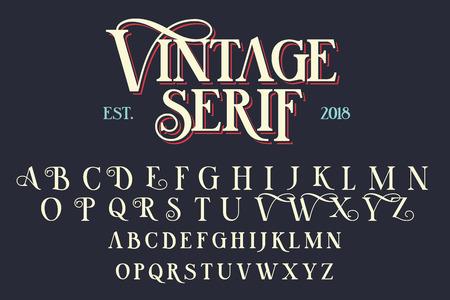 Vintage serif belettering lettertype. Retro lettertype met decoratieve elementen