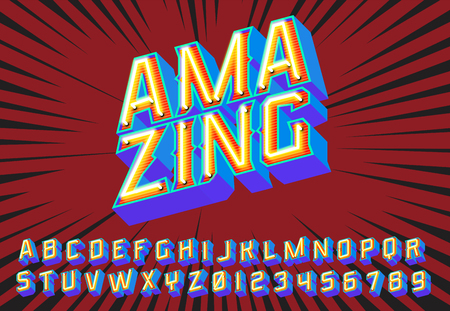 Amazing lettering 3D vintage letters with fluorescent neon lights. Vector retro illustration