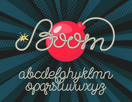 Boom - rope lettering with bomb on pop background. Rope alphabet vector font