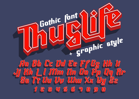 Thug Life - decorative modern font with graphic style. Trendy alphabet letters for logo, branding. Vector illustration Illustration