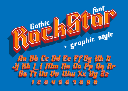 Rock Star - decorative modern font with graphic style. Trendy alphabet letters for logo, branding. Vector illustration