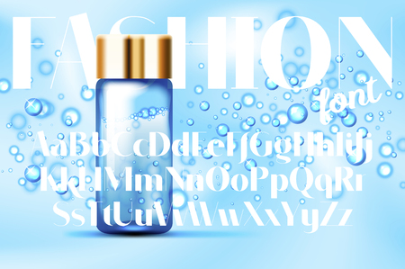 Fashion font with Blue bubbles and parfume glass bottles mockup on abstract background. Suitable for beverages, cosmetics, healthcare concepts. Vector illustration