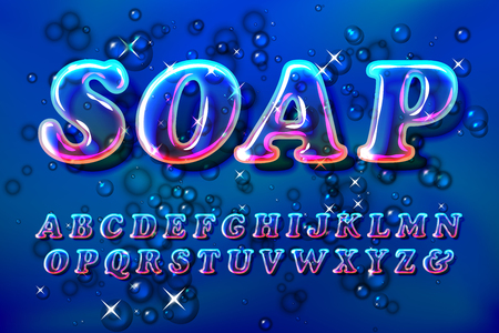 Surreal color soap bubble glass alphabet font with transparency and shadows. 3D bulb isolated letters