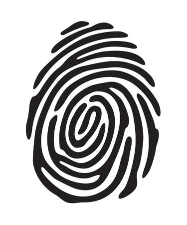 Black fingerprint shape. secure identification. Vector illustration Ilustracja