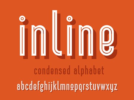 Modern condensed sans serif alphabet font with shadow