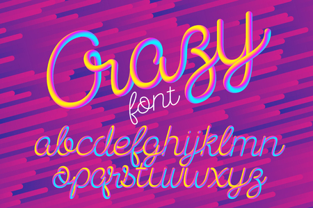 Crazy color 3D alphabet vector pipe font on blue background Illustration