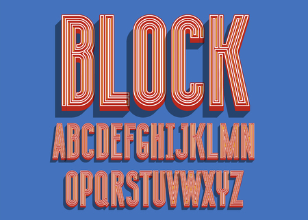 Block bold font. 3D color alphabet letters. Vector illustration Illustration