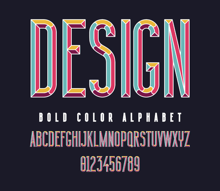 Colorful condensed bold font. Color typography alphabet. Vector illustration Illustration