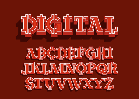 digital - electronic coin style font. Crypto currency alphabet letters set. Vector illustration with graphic style Illustration
