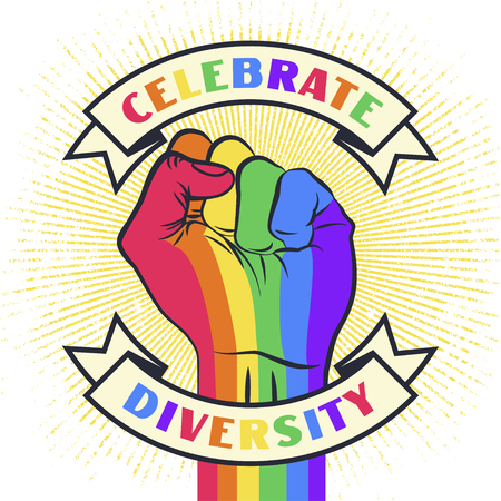 Celebrate diversity. Raised protest pride rainbow color human fist.