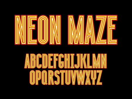 Futuristic color neon maze alphabet letters. Geometric labyrinth font with graphic style