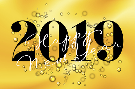 2019. Happy New Year greeting card with golden bubbles background. Fashion style for Merry Christmas theme. Suitable for beverage, cosmetics, holiday background, banner, card and poster. Vector illustration