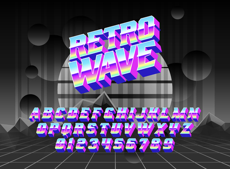 Cool cyber typeface Retro wave with cyberspace synth neon landscape. Good for bright captions and unforgettable logos.