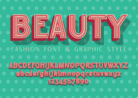 BEAUTY - Fashion and Wedding font, lettering illustration with graphic style on dots baground