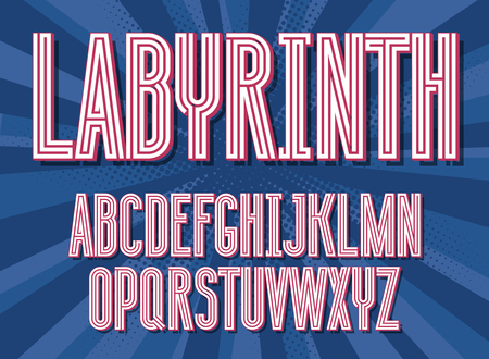 Futuristic maze alphabet letters. Geometric labyrinth font on colorful gradient background