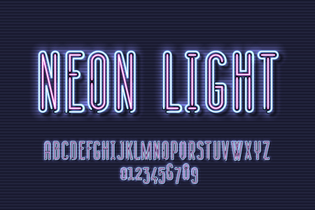 Neon sign lamp font design, alphabet, character set, typeface, typography, Electricity light retro letters. Vector illustration Illustration