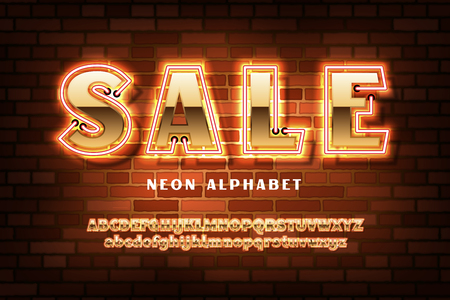 Golden font with neon on the old red brick wall background, bold sans serif alphabet, gold character set, modern typeface, typography, Electricity light retro letters. Vector illustration Illustration