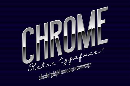 Chrome condensed modern alphabet. Sans serif metal font.