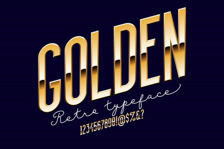 Gold condensed modern alphabet.