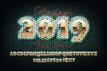 2019 Happy New Year invitation. Golden Christmas font with neon, bold sans serif alphabet, gold character set, modern typeface, typography, Electricity light retro letters. Vector illustration