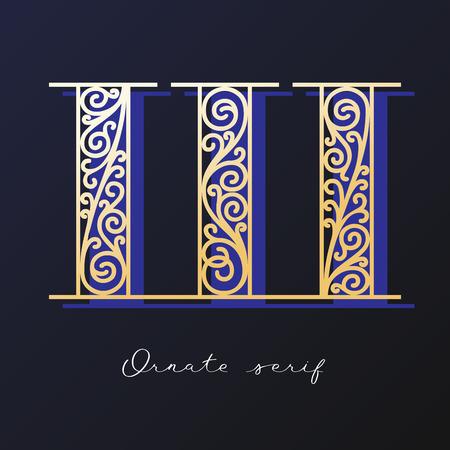 Trendy fashionable ornate serif typeface. Decorative letter with shadow Ilustração