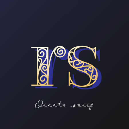 Trendy fashionable ornate serif typeface. Decorative letter with shadow.