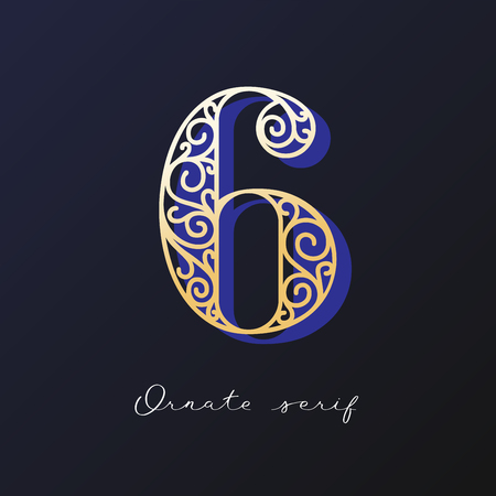 Trendy fashionable ornate serif typeface. Decorative letter with shadow. good for wedding invitations, fashion typographic projects. vector illustration.