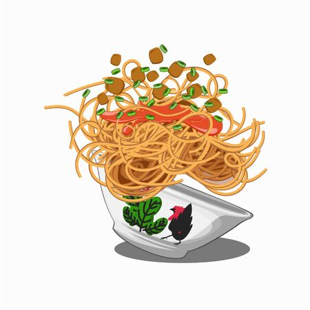 Vector Illustration A Indonesian noodle special is a favorite in Indonesian society Illustration Design Vektorové ilustrace