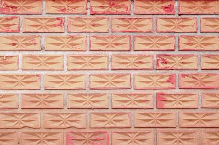 Decorative Brick Wall. Red brick wall texture grunge background with vintage corners of interior, exterior. Imagens