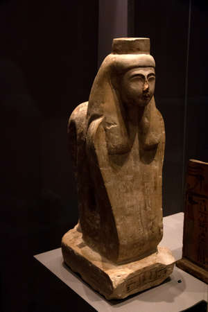 Leiden, The Netherlands JAN 26, 2019: ancient egyptian statue of Meretseger as Cobra at the exhibition Gods of Egypt in Leiden. The patron of the workers and artisans of Deir el-Medina. Editöryel