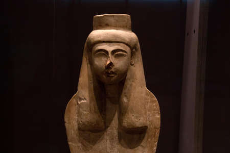 Leiden, The Netherlands JAN 26, 2019: closeup of an ancient egyptian statue of Meretseger as Cobra at the exhibition Gods of Egypt in Leiden. Guardian goddes, dangerous and merciful.
