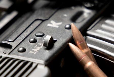 Schiedam, The Netherlands - DEC 01, 2019: closeup of a Kalashnikov assault rifle. 7.62x39.