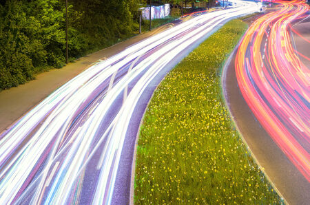 car light streaks in green environment photo