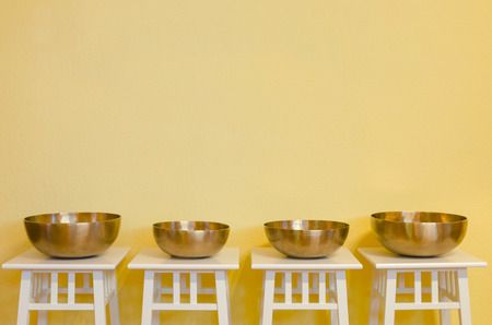 gong bowl: row of therapeutic Tibetan singing bowls