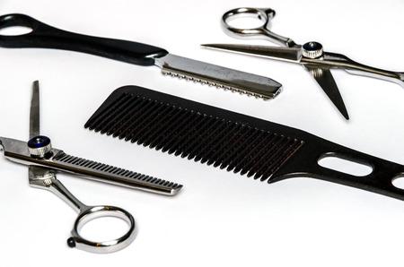 coiffeur: close-up d'outils de coiffure utilis�s