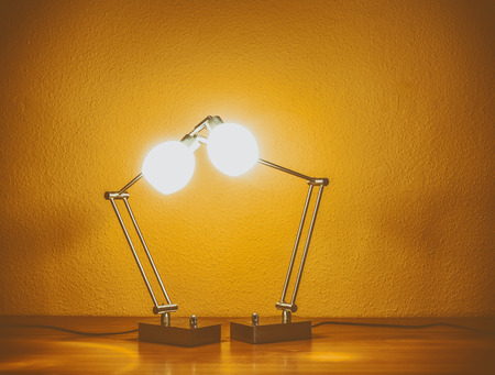 table lamps: a pair of lit table lamps