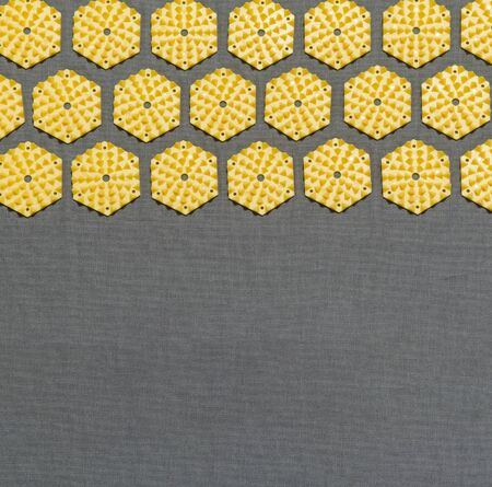 acupressure: top view of a section of an acupressure mat