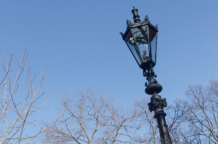 juxtaposition: old style street lamppost in front of blue sky with tree branches Stock Photo