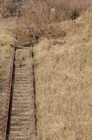 abolished: old abandoned railway track disappearing into vegetation Stock Photo
