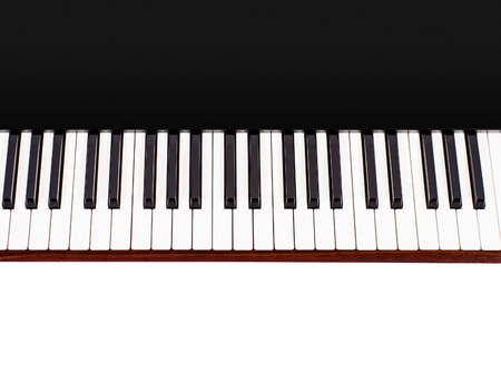 electronic piano: Top view of keyboard of an electronic piano in black casing on white background