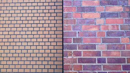 adjacent: background of two adjacent brick walls with different patterns and colors Stock Photo