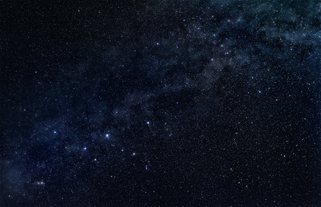 Constellation Cassiopeia with stellar band of our galaxy, the Milky Way, in the dark starry sky