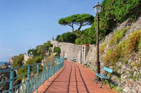 seaside promenade of the mediterranean resort Genoa Nervi in Italy on a beautiful sunny day