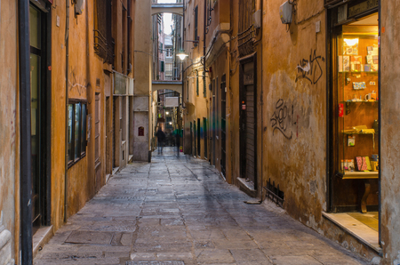 Vico Del Duca, an old narrow  but lively street in the ancient part of the city of Genoa