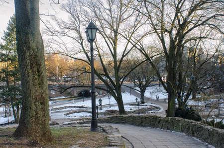 冬の日の Riga, ラトビア、要塞の丘公園 写真素材
