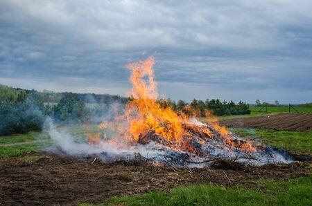 Bonfire in the field
