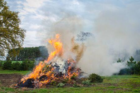 Easter bonfire in rural Europe